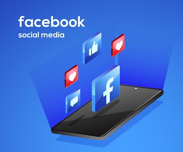 Icone di social media di facebook con lo smartphone