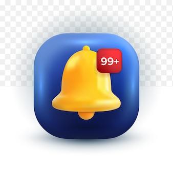 Campanello di notifica dei social media di facebook simpatico avviso e allarme di icona 3d su sfondo pastello