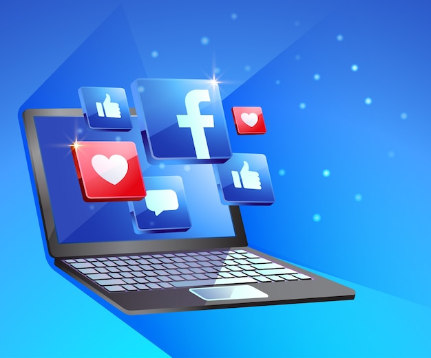 Social media di facebook con laptop dekstop