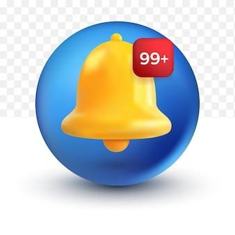 Facebook social media arrotondato messaggio di notifica campana simpatica icona 3d avviso e allarme su sfondo pastello