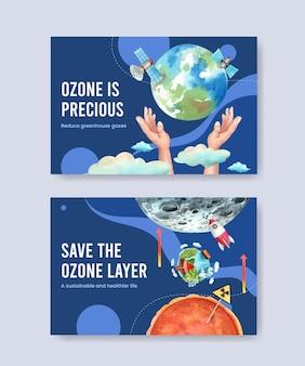 Modello di facebook impostato con il concetto di giornata mondiale dell'ozono, stile acquerello