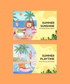 Modello di facebook con animali in estate in stile acquerello