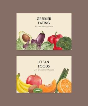 Modello di facebook con il concetto di cibo sano,stile acquerello Vettore Premium