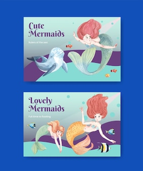 Modello di facebook con il concetto di sirena,stile acquerello