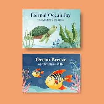 Modello di facebook con il concetto di oceano felice stile acquerello