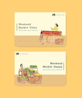 Modello di facebook con il concetto di mercato del fine settimana,stile acquerello
