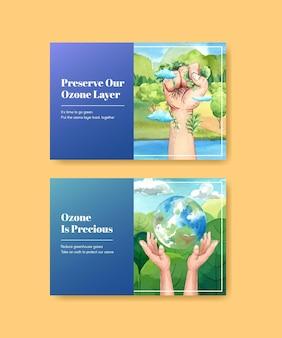 Modello di facebook con il concetto di giornata mondiale dell'ozono, stile acquerello