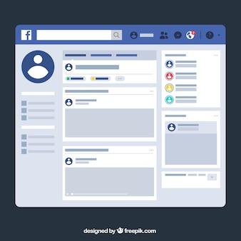 Interfaccia web di facebook con design minimalista