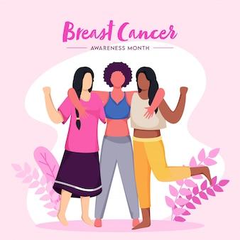Gruppo femminile combattente senza volto insieme contro il cancro al seno su sfondo rosa e bianco per il mese della consapevolezza.