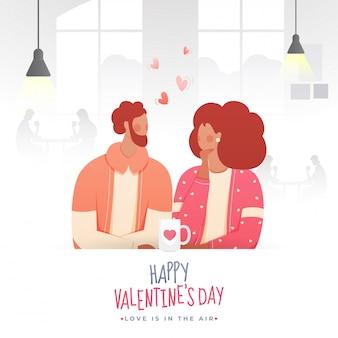 Giovani coppie senza volto che bevono tè o caffè nel caffè in occasione di un felice san valentino, l'amore è nell'aria.