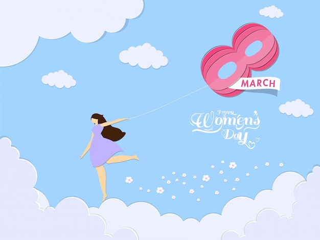 Ragazza senza volto in esecuzione con carta origami 8 numero di marzo su sfondo blu nuvoloso per la celebrazione della giornata della donna felice.