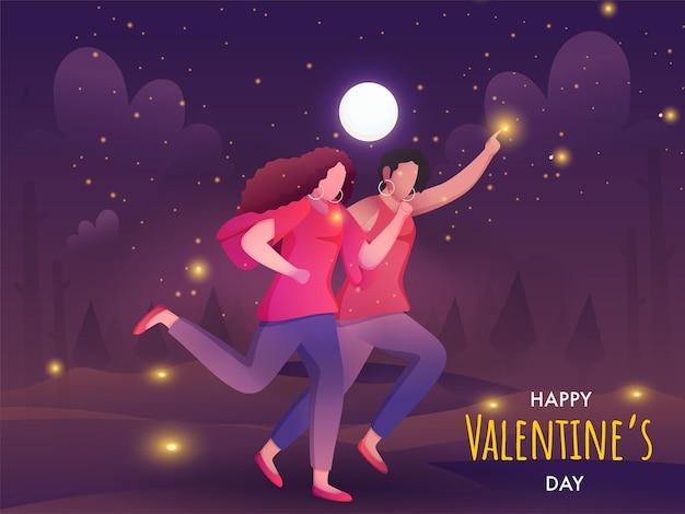 Senza volto giovane coppia femminile lesbica in esecuzione su sfondo di paesaggio di luna piena