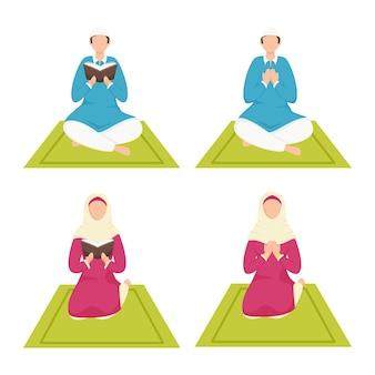 Giovane musulmano senza volto e donna che offrono namaz (preghiera) in quattro opzioni.