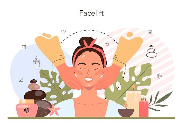 Concetto di massaggio lifting. procedura spa nel salone di bellezza. trattamento antietà viso e terapia di rilassamento. persona sul lettino da massaggio. illustrazione piatta isolata