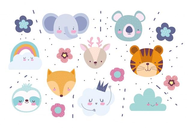 Volti di elefante volpe tigre cervo koala fiori arcobaleno nuvole cartoni animati simpatici animali personaggi sfondo
