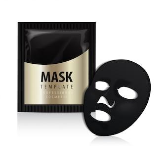 Maschera nera per il viso. pacchetto oro cosmetici. disegno di pacchetto vettoriale per maschera