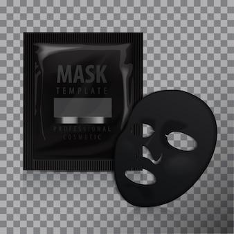 Maschera nera per il viso. pacchetto di cosmetici. disegno di pacchetto vettoriale per maschera