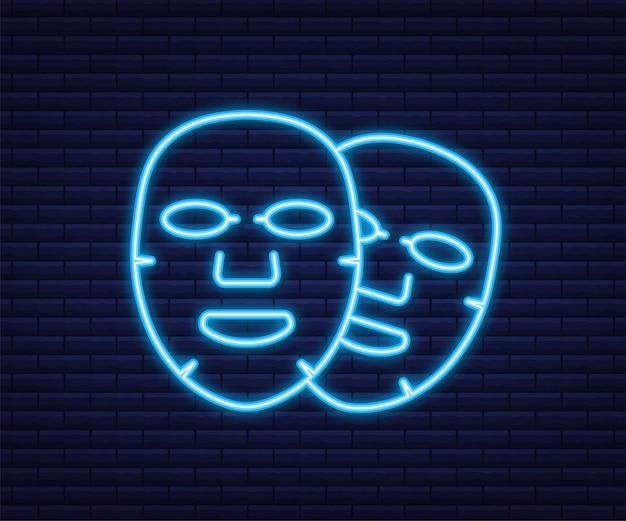 Icona piana di maschera facciale. stile neon. medicina, cosmetologia e assistenza sanitaria. illustrazione vettoriale.