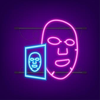 Icona piana di maschera facciale. stile neon. medicina, cosmetologia e assistenza sanitaria. illustrazione di riserva di vettore.