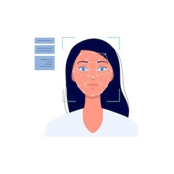 Tecnologia del sistema di riconoscimento facciale con illustrazione di cartone animato volto di donna su priorità bassa bianca. software biometrico di autenticazione e sicurezza.