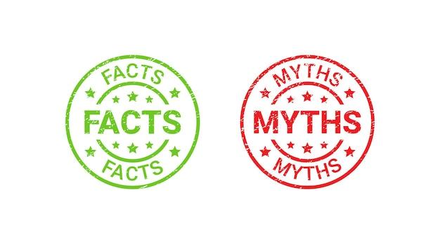 Timbri di gomma del grunge di mito di fatto, distintivi. verità o falsi emblemi testurizzati. impronte di sigillo rosso verde