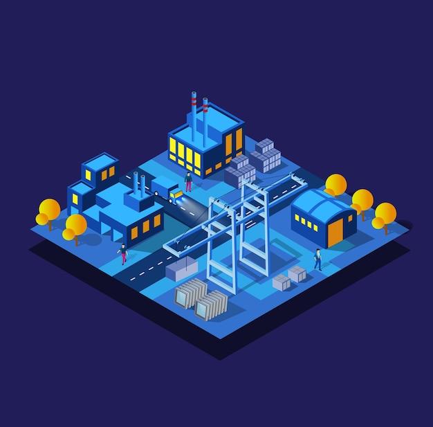 Le fabbriche, la notte dell'industria dei magazzini, il neon, l'illustrazione viola della città intelligente