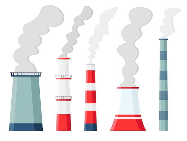 Inquinamento atmosferico in fabbrica. contaminazione ambientale emissioni di anidride carbonica. fabbriche tossiche e impianti con fumi o smog isolati. camini inquinanti. Vettore Premium