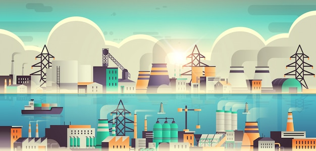 Stabilimento industriale zona industriale con tubi e camini