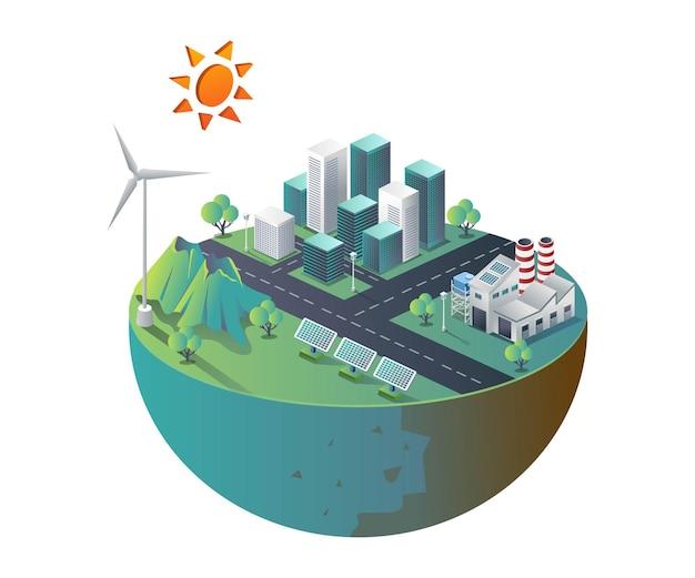 Costruzione di fabbrica con pannelli solari in illustrazione isometrica