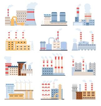 Edifici di fabbrica. eco centrali elettriche con pannelli solari e mulino a vento, produzione chimica e complesso industriale. insieme di vettore di fabbriche piatte. illustrazione di fabbrica industriale, produzione di energia