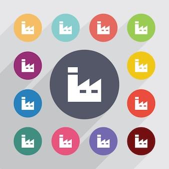 Cerchio di fabbrica, set di icone piatte. bottoni colorati rotondi. vettore