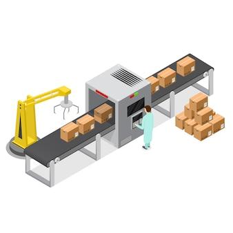 Nastro trasportatore di fabbrica con scatole di cartone in vista isometrica