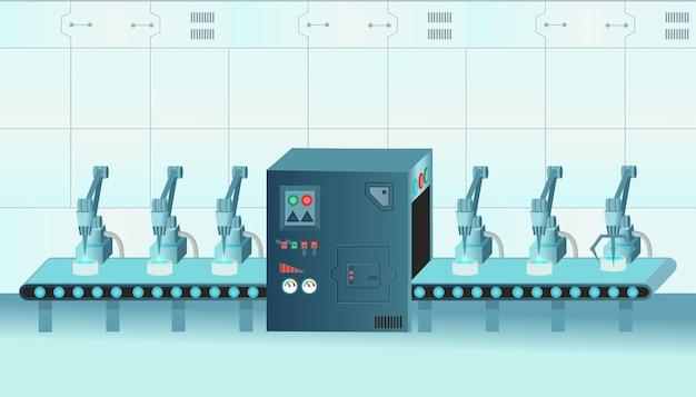 Bracci robotici del trasportatore di fabbrica con l'illustrazione del fumetto della linea di trasporto