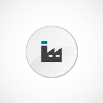Icona di fabbrica 2 colorata, grigia e blu, badge circolare