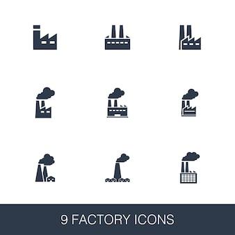 Set di icone di fabbrica. segni di glifi dal design semplice. modello di simbolo di fabbrica. icona di stile universale, può essere utilizzata per l'interfaccia utente web e mobile