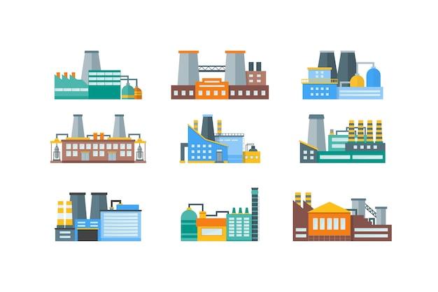 Set di stili di fabbrica o edificio industriale.