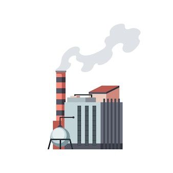 Fabbrica industriale. fabbrica di raffineria edificio industriale manifattura o centrale nucleare. complesso di edifici di impianti chimici isolati su sfondo bianco.
