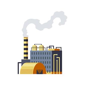 Fabbrica industriale. fabbrica di raffineria edificio industriale manifattura o centrale nucleare