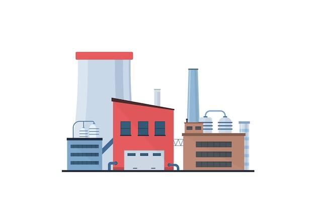Fabbrica industria manifattura potenza edifici elettrici icone piatte impostate centrali nucleari