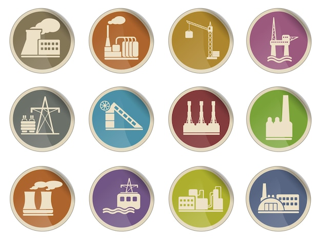 Icone web di fabbrica e industria