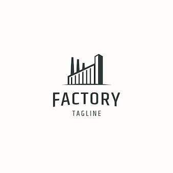 Illustrazione piana di vettore del modello di progettazione dell'icona del logo della fabbrica