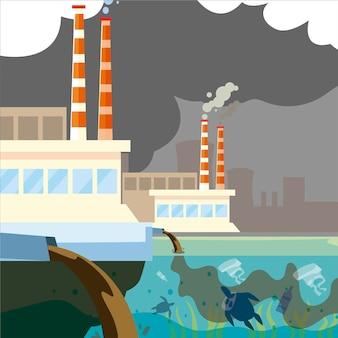 L'impianto di fabbrica inquina, emissione di rifiuti dai tubi all'illustrazione dell'acqua di fiume