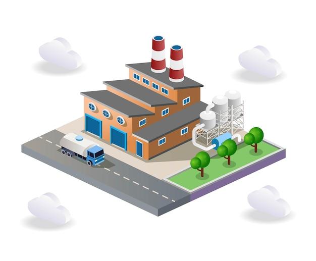 Vista della fabbrica e del magazzino