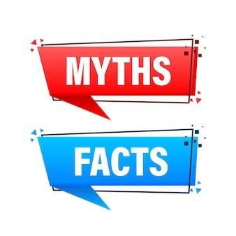 Fatti e miti bolla isolati su sfondo bianco