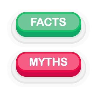 Fatti o miti pulsante 3d realistico verde o rosso isolato su priorità bassa bianca. cliccato a mano. illustrazione vettoriale.