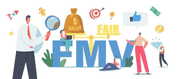 Mercato del valore equo, concetto di business fmv. piccoli uomini d'affari e personaggi di donne d'affari con enorme lente d'ingrandimento, brillante e bilancia, equilibrio di valore ed equo. cartoon persone illustrazione vettoriale