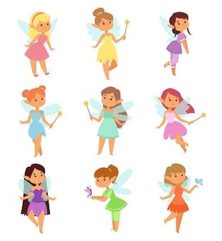 Set di personaggi dei cartoni animati di fate.