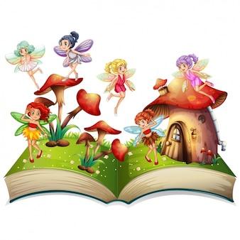 Fata su un libro con i funghi