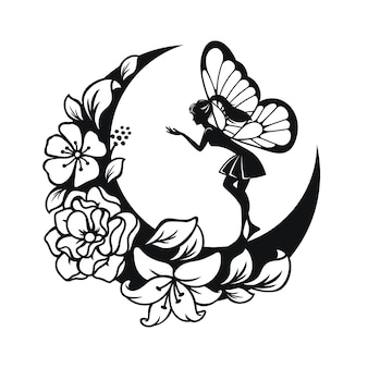 Illustrazione di fata e falce di luna