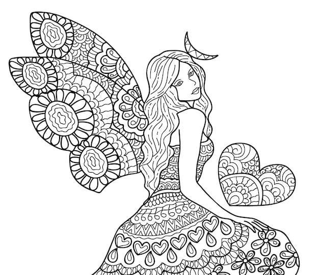 Disegno fata per la pagina del libro da colorare